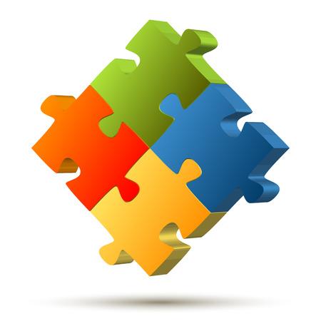 Teamwork puzzle four colors Vector