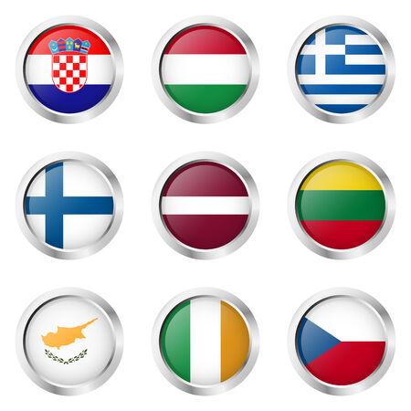 bandera de croacia: colección de botones con banderas de los países Vectores