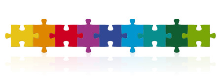 school strategy: teamwork puzzle in a row Illustration