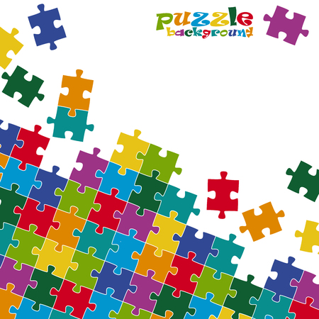 primary colors: colored puzzle background