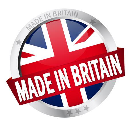 banderole: button MADE IN BRITAIN Illustration