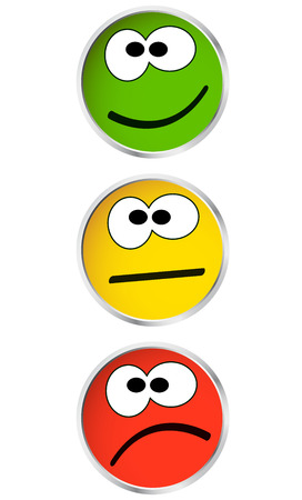 emotion faces: buttons with faces - good and bad