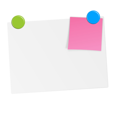 white empty sheet of paper with sticky note and magnets Vector