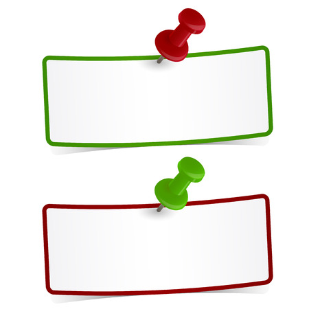 postit note: two little sticky notes with pin