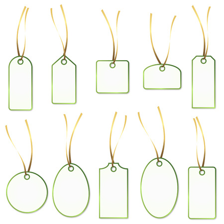 collection of green - white hangtags Vector
