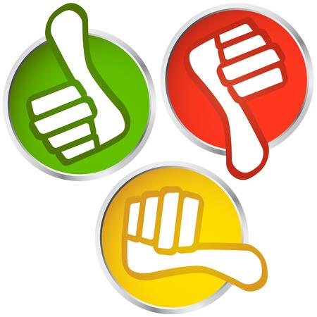 thumbs up - pulgares hacia abajo los botones Ilustración de vector
