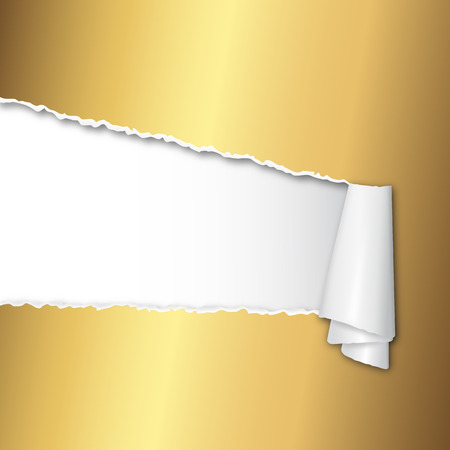 torn up paper gold Vector