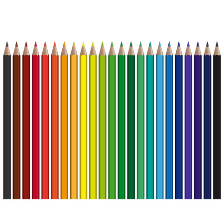 colour fan: many colored pencils in a row