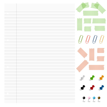 pinhead: lined paper with office supplies Illustration