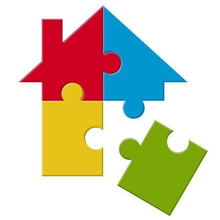 cheque en blanco: casa del rompecabezas de cuatro partes