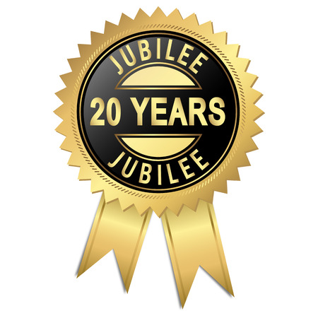 approval button: golden seal of quality - 20 years