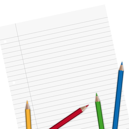 din: notepaper with space and some pencils Illustration