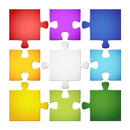 puzzle piece collection colored