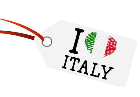 hangtag: hangtag with I LOVE ITALY Illustration