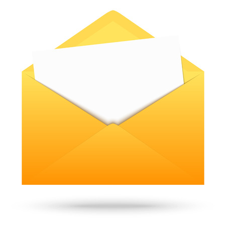 urgently: open yellow envelope with letter Illustration