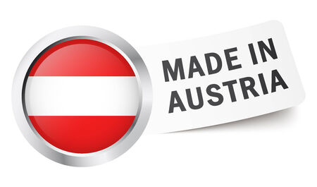 button with flag Made in Austria Vector