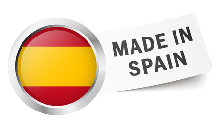 made in spain: button with flag Made in Spain Illustration