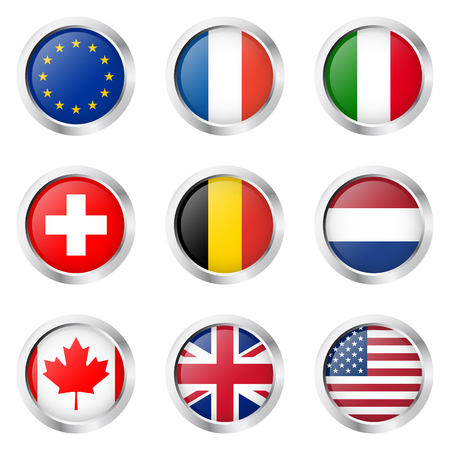 holland flag: collection buttons with country flags