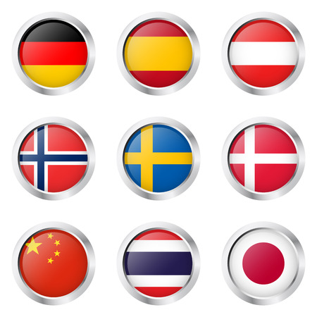 collection buttons with country flags Vector