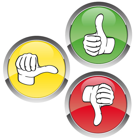 ordinate: three buttons with hands - thumbs up down Illustration