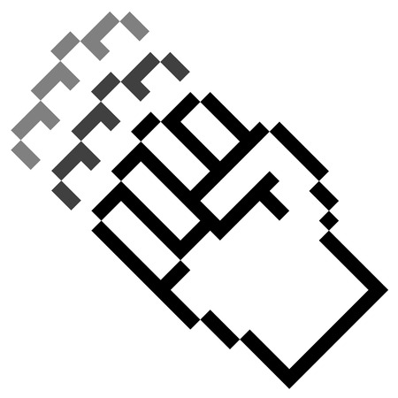 stop gesture: pixel fist fight in motion Illustration
