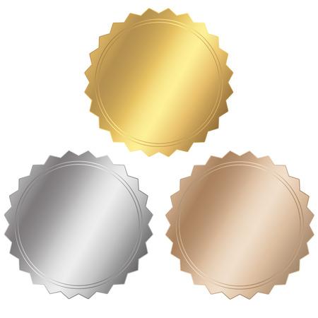 drie seal - goud, zilver, brons Stock Illustratie