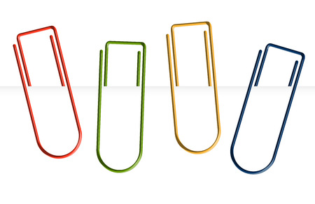 bookmarking: four colored paperclips