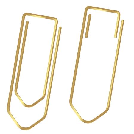 two golden paperclips Иллюстрация