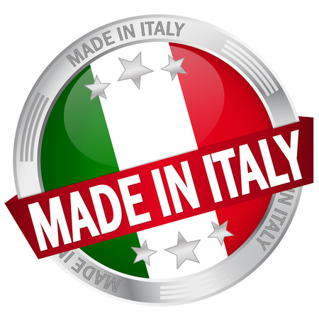 button with banner - made in italy