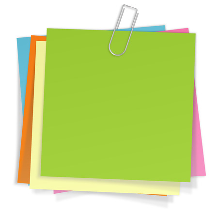 many sticky notes with paperclip