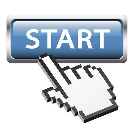 empezar: botón de inicio y con la mano y Vectores