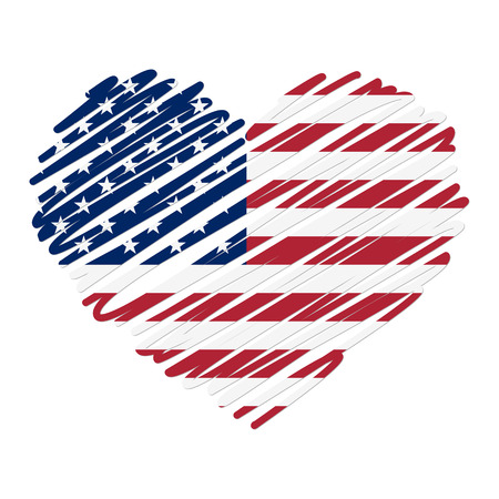 patriotic america: scribble heart USA Illustration