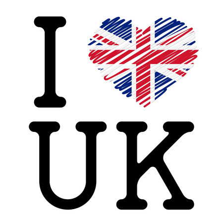 I LOVE UK with heart Vector