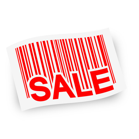 financially: bar code with sale on flag