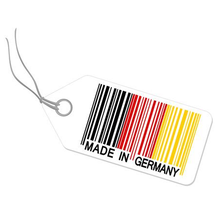 internationally: bar code MADE IN GERMANY hangtag