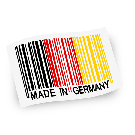 internationally: bar code with mad in germany on flag