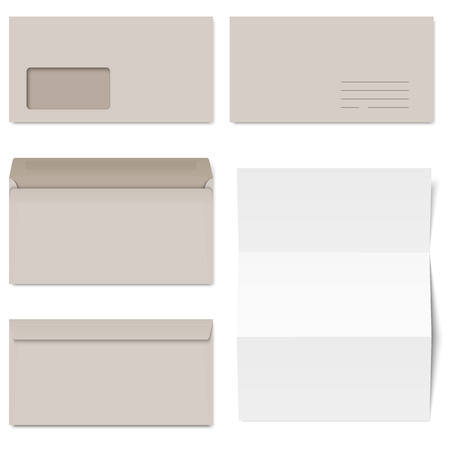 din: collection of gray envelopes and sheet Illustration