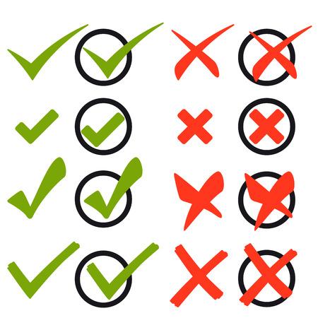 grün: Reihe von verschiedenen Kreuze und Haken grün und rot
