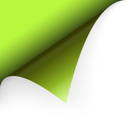 turn over: paper corner turn over green Illustration