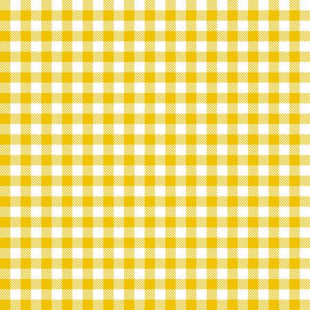 シームレスな黄色の格子模様のテーブル クロス背景