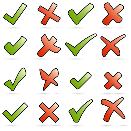 set of different crosses and hooks green and red Vector