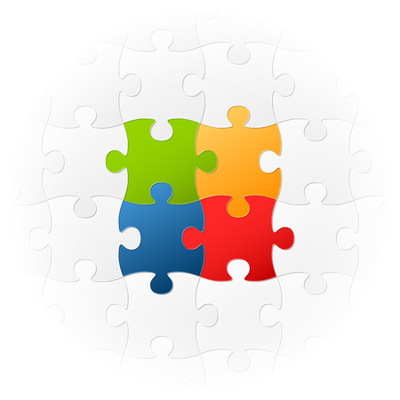 Teamwork puzzle four colors Illustration