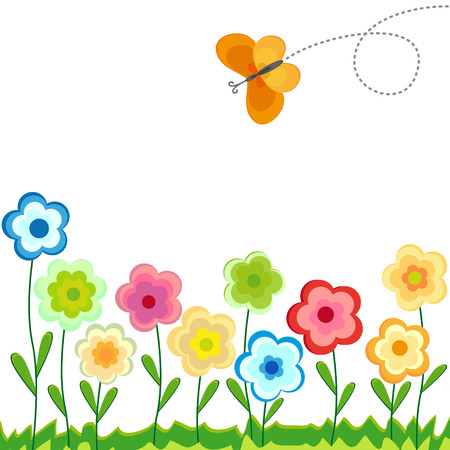 flowers colored with butterfly Vector