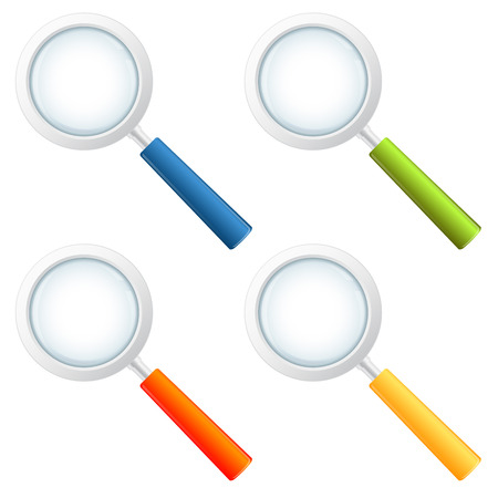 scrutiny: four colored magnifying glasses Illustration