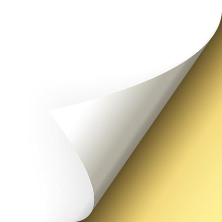 turn over: paper corner turn over gold Illustration