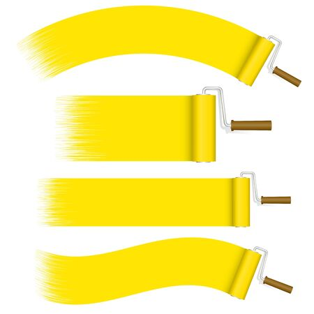 rollers: collection paint rollers yellow