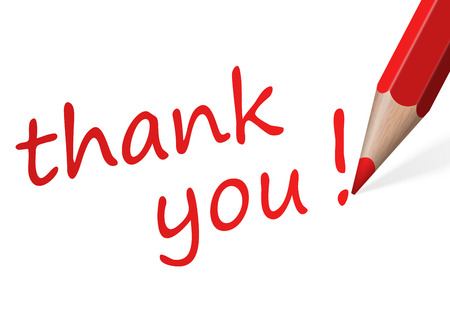 thank you   with red pencil Vector