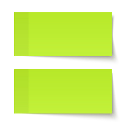 set of two green sticky notes with different shadows Vettoriali