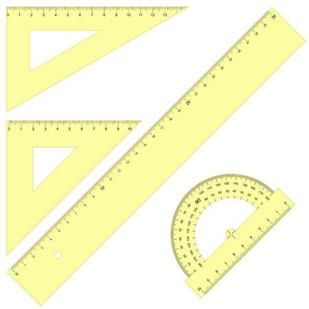 protractor: collection school supplies - ruler protractor