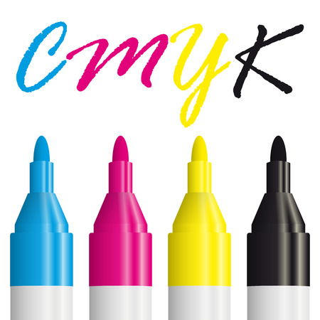 offset: CMYK - four opened textmarkers